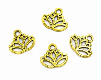X 20 B48 antique gold lotus flower charms