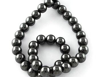 Perles hématites magnétiques  8mm   Rondes grade A noir PH201603