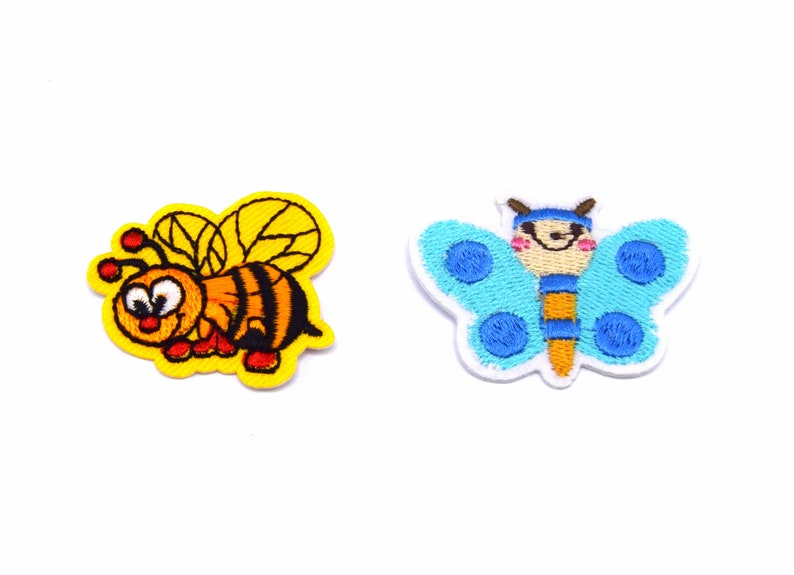 x2 Ecussons patch thermosticking blue butterfly and yellow bee