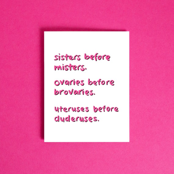 Galentines Day Card Sisters Before Misters Funny Etsy