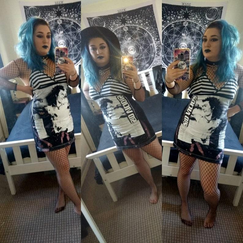 462b58b36ba91 UK 10-12 DIY punk t-shirt dress halter neck did vicious black | Etsy