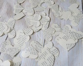 Book Page Heart Confetti, Recycled Classic Novel, 200 Piece Party Decorations, Literary Theme, Wedding Decor