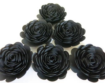 Black paper roses etsy black paper roses set of 6 3 flowers retirement decorations 50th birthday party decor halloween table centerpiece scatter wedding mightylinksfo