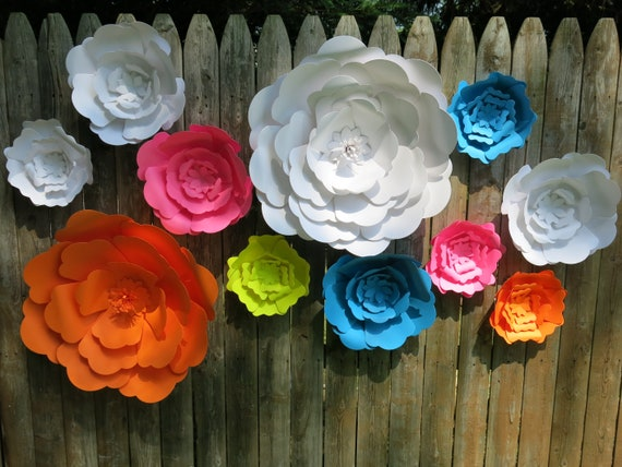 Giant paper flowers kit diy kit big paper flowers large etsy mightylinksfo