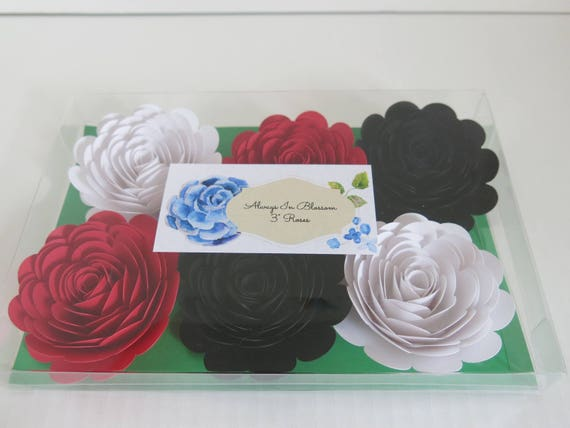 Red /& White Paper Roses Black Set of 6 Big Wedding Flowers Always In Blossom Bridal Shower Decor Mad Hatter Theme Tea Party Decorations 3 Paper Flower Blooms