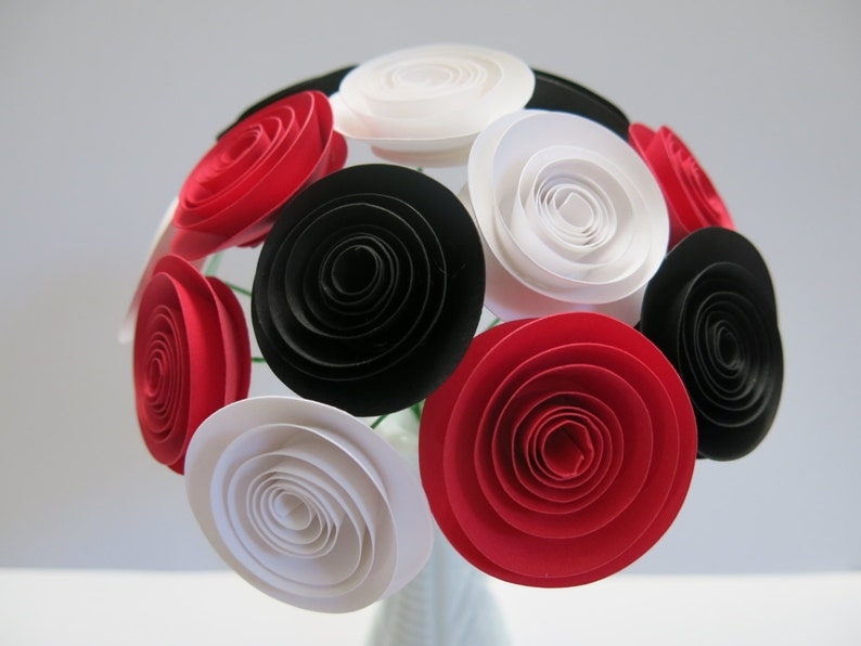 Black Red And White Paper Flower Bouquet Rose Floral Etsy