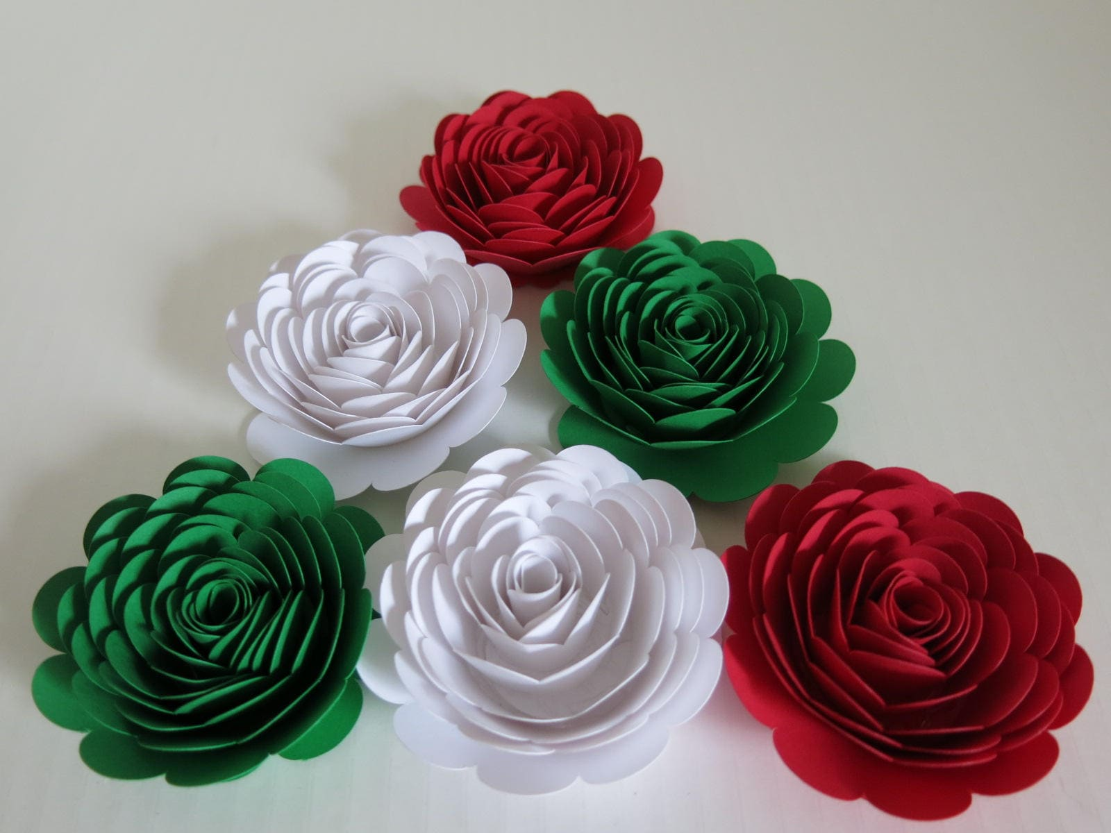 Red White Green Mexican Color Roses 3 Paper Flowers Set Of 6 Wedding Flowers Bridal Shower Decor Italy Italian Theme Tea Party Decor