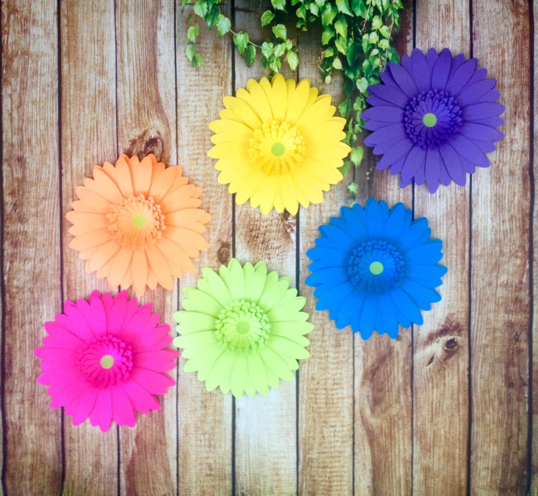 Neon Rainbow Gerbera Daisy Set of 21   21 Inch Giant Paper Flowers    Unicorn/Fantasy Theme Birthday Party Backdrop