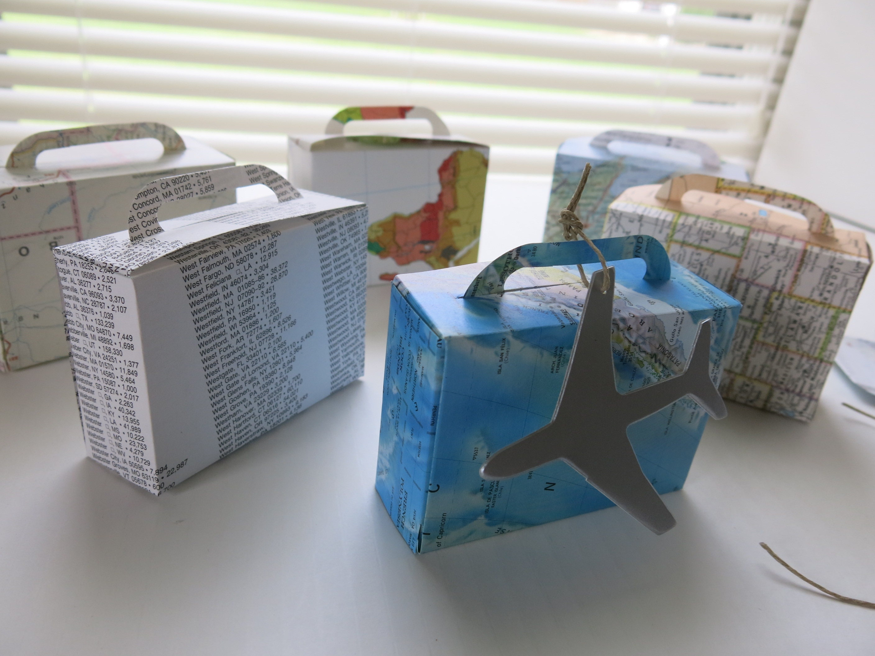 Suitcase Treat Box, Luggage made from World Atlas Book Pages & Maps, Travel  Theme Party, Silver Airplane Tag, Bridal Shower