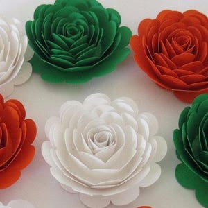 Irish flag colors etsy 6 roses ireland tricolor flag colors orange white green irish american wedding decorations large 3 paper flowers pub table centerpiece mightylinksfo