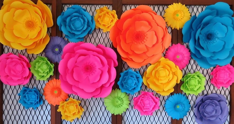 Giant Paper Flowers You Choose Flowers Big Paper Flowers Large Flower Floral Wall Decor Wedding Decor Backdrop Centerpiece Party