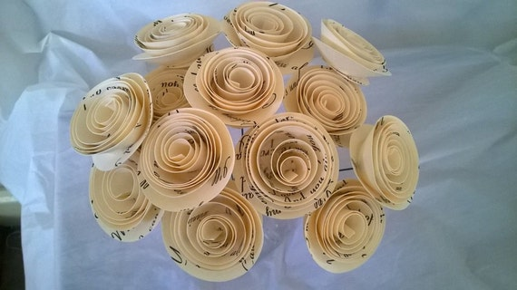 Paper flowers with wedding song lyrics dozen 15 paper etsy image 0 mightylinksfo