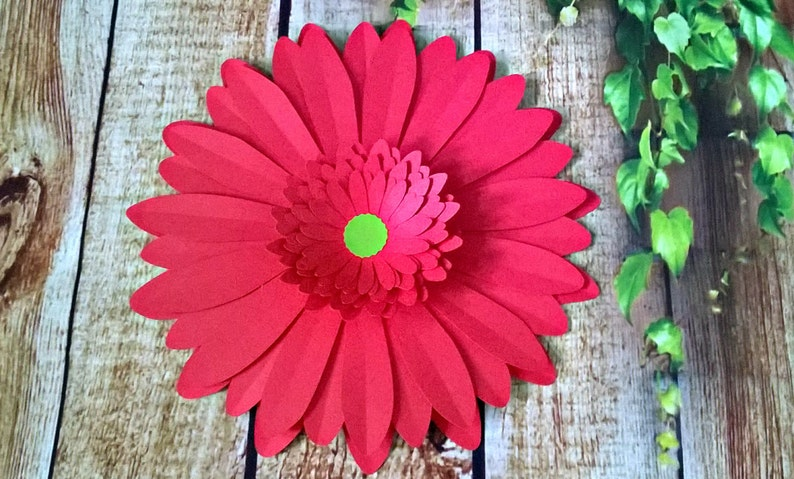 Red Gerbera Daisy Paper Flower Wall Hanging Decoration 8 Giant Paper Flowers Wedding Decorations Table Centerpiece Decoration Diy Project