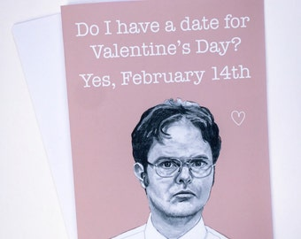 Dwight Schrute US Office Illustrative A5 Valentines Card