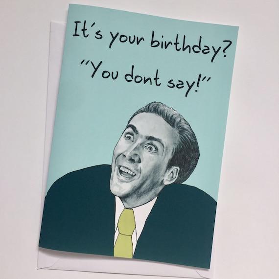 Happy Birthday A5 Illustrative Card Nicolas Cage