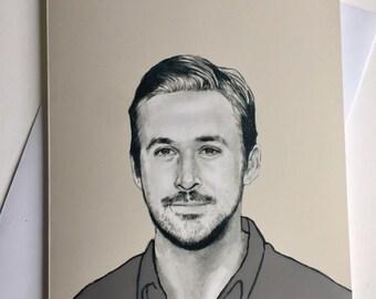 Ryan Gosling A5 Illustrative  card