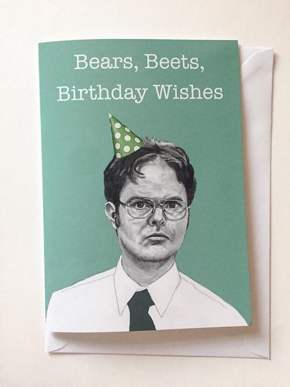 Dwight Schrute Us Office Illustrative Birthday Card