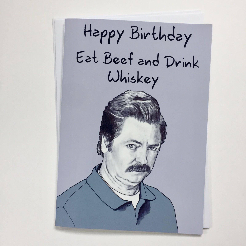 Ron Swanson Illustrative A5 Birthday Card