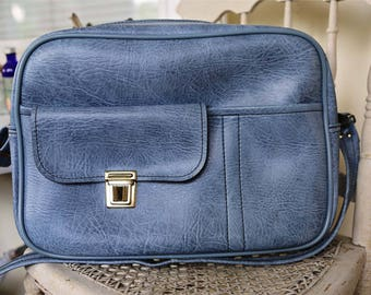 Scovill Blue vinyl shoulder bag travel overnight purse baby carry on