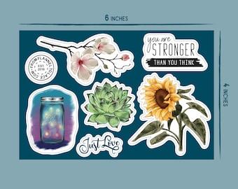 Summer Flowers, 5x7 Vinyl Sticker Sheet
