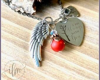 Always with you necklace, angel spirit jewelry, angel wing memorial necklace, angel wing sympathy gift, sympathy jewelry with cardinal