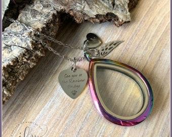 Teardrop pet fur locket, personalized lock of fur necklace, glass pet fur necklace, rainbow teardrop floating locket, pet fur memorial gift