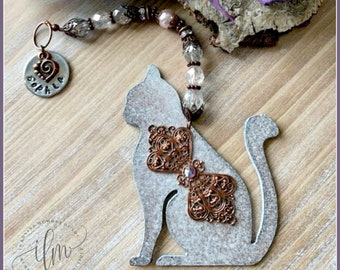 Filigree cat ornament, personalized cat memorial gift, cat sympathy gift, cat remembrance, loss of cat, death of cat, customized cat tribute