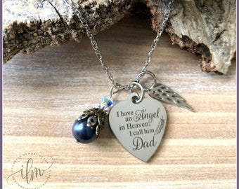 Angel dad jewelry, angel father, angel father sympathy, angel father memorial gift, father angel necklace, dad angel necklace, loss of a dad