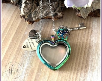 pet fur locket, personalized lock of fur necklace, heart pet fur necklace, rainbow heart floating locket, dog fur necklace, cat fur necklace