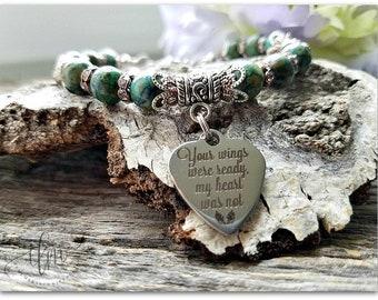 Your wings were ready, my heart was not bracelet, pet jewelry, memorial jewelry, sympathy bracelet, sympathy jewelry, tribute jewelry