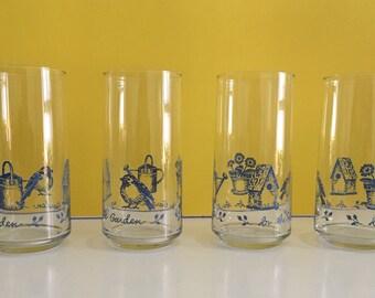 Retro Libbey Garden Motif Drinking Glasses
