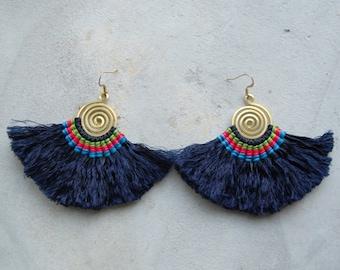 Handmade Spiral Royal Blue Tassel Earrings