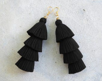 Four Tiered All Black Tassel Earrings