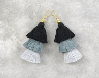 Black & Grey Ombre Tassel Earrings