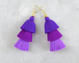 Handmade Ombre Purple Tassel Earrings