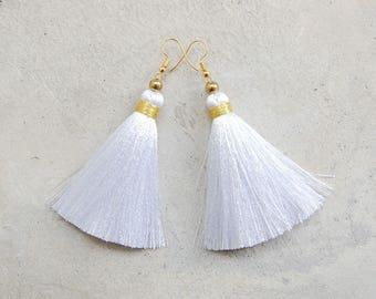 Silky Pure White Handmade Tassel Earrings