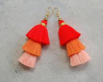 Handmade Three Tiered Orange Ombre Tassel Earrings