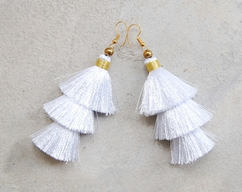 8dbb23905 Pure White Three Tiered Silky Tassel Earrings
