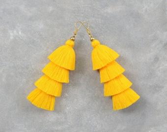 Handmade Yellow Tassel Earrings
