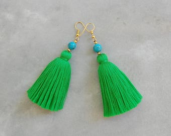 0f9e4d708abf Handmade Kelly Green Tassel Earrings with Turquoise Beads