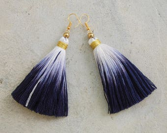 ad7ab55e0e0d13 Indigo Blue Dip Dye Ombre Tassel Earrings with Gold Beads