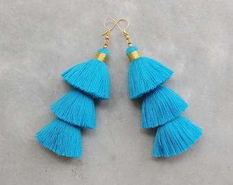 Light Blue Three Layered Tassel Earrings