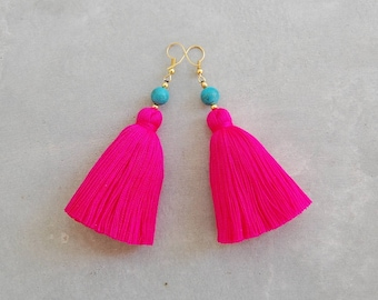 e4d61c0d7 Hot Pink Tassel Earrings with Turquoise Beads