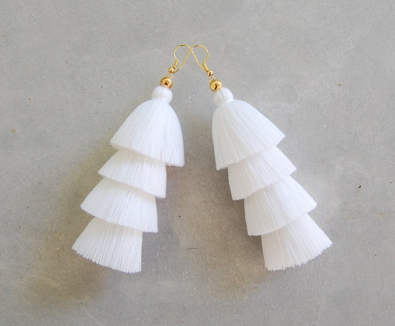cf533bfe0075be Pure White Four Tiered Tassel Earrings | Etsy