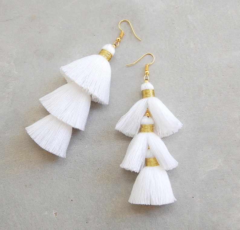 3a8126e3b Pure White Three Layered Tassel Earrings with Gold Binding | Etsy