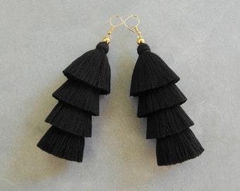 Handmade Black Tassel Earrings