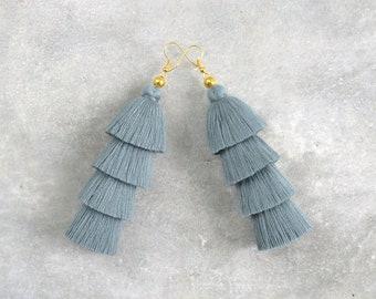 Handmade Grey Tassel Earrings