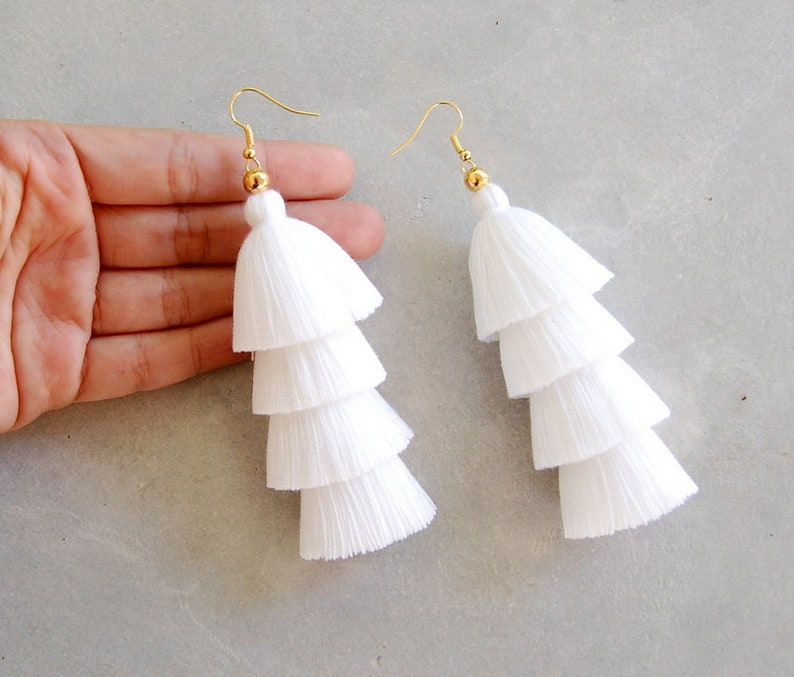 1f8f27fd9 Pure White Four Tiered Tassel Earrings | Etsy