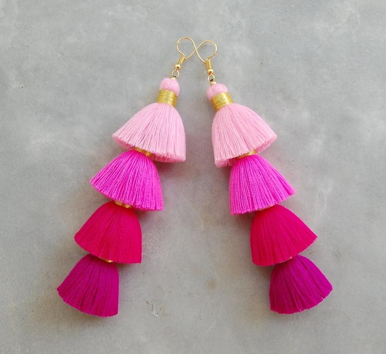 Handmade Ombre Pink Tassel Earrings image 0