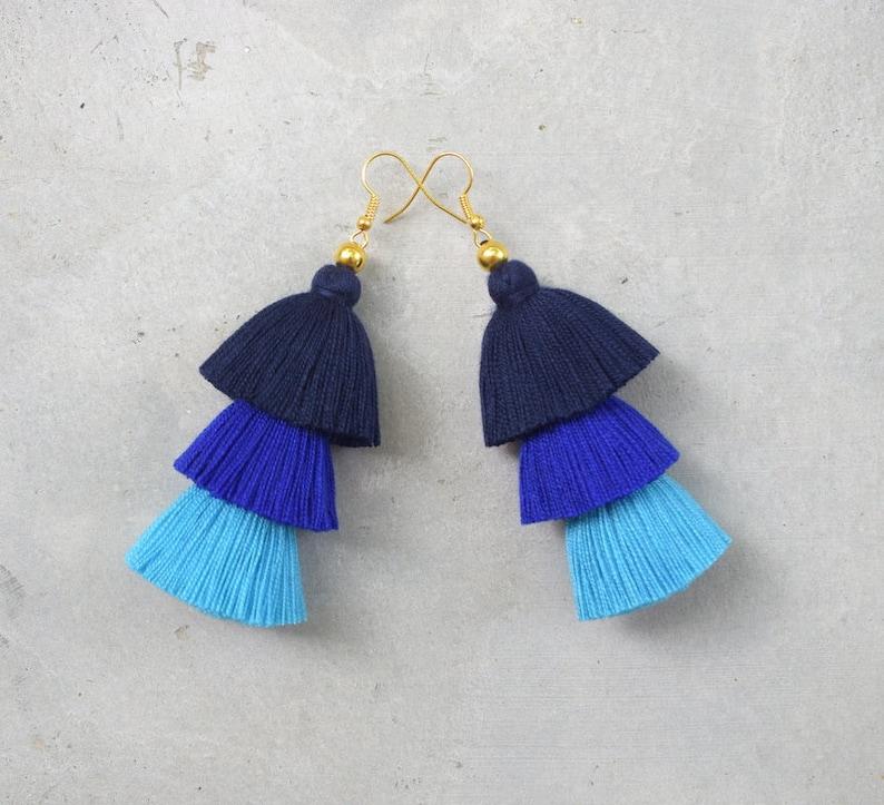 Three Shades of Blue Tassel Earrings image 0